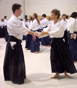 Photo:         Demonstration practice of Aikido